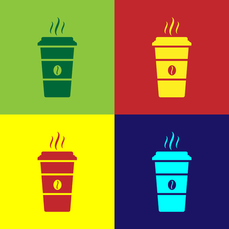 Color Coffee cup icon isolated on color backgrounds. Disposable coffee cup with hot coffee. Flat design. Vector Illustration Illustration
