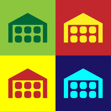 Color Warehouse icon isolated on color backgrounds. Flat design. Vector Illustration Standard-Bild - 124860714