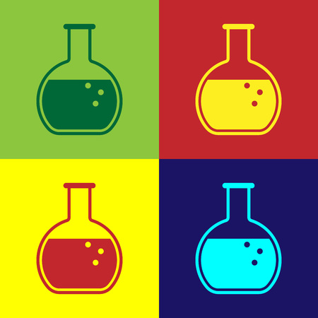 Color Test tube and flask - chemical laboratory test icon isolated on color backgrounds. Flat design. Vector Illustration