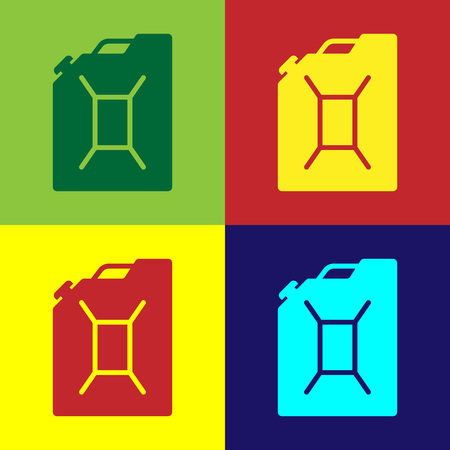 Color Canister for gasoline icon isolated on color backgrounds. Diesel gas icon. Flat design. Vector Illustration