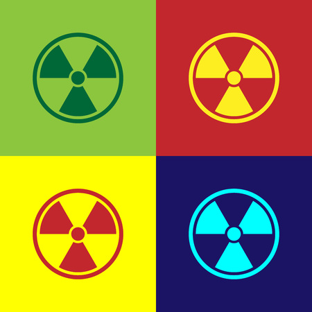 Color Radioactive icon isolated on color backgrounds. Radioactive toxic symbol. Radiation Hazard sign. Flat design. Vector Illustration Reklamní fotografie - 124860724