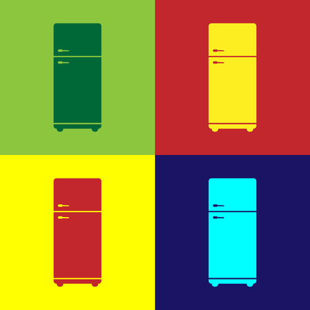Color Refrigerator icon isolated on color backgrounds. Fridge freezer refrigerator. Household tech and appliances. Flat design. Vector Illustration