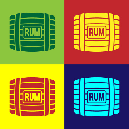 Color Wooden barrel with rum icon isolated on color backgrounds. Flat design. Vector Illustration Illustration