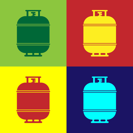 Color Propane gas tank icon isolated on color backgrounds. Flammable gas tank icon. Flat design. Vector Illustration  イラスト・ベクター素材