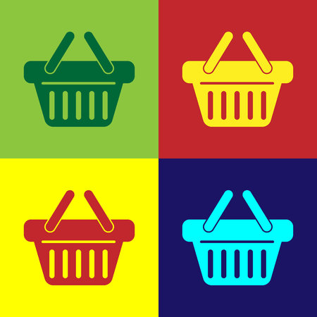Color Shopping basket icon isolated on color backgrounds. Flat design. Vector Illustration Illustration