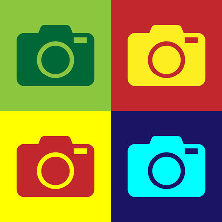 Color Photo camera icon isolated on color backgrounds. Foto camera icon. Flat design. Vector Illustration