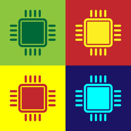 Color Computer processor with microcircuits CPU icon isolated on color backgrounds. Chip or cpu with circuit board sign. Micro processor. Flat design. Vector Illustration