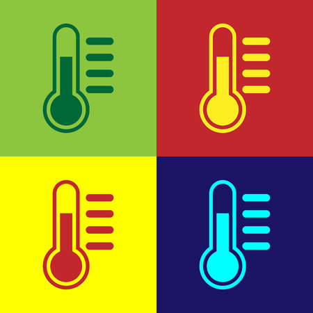 Color Thermometer icon isolated on color backgrounds. Flat design. Vector Illustration
