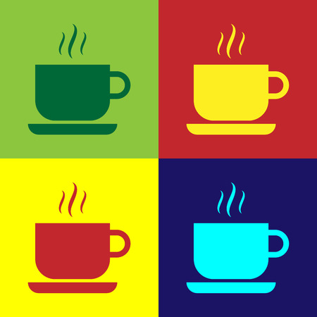 Color Coffee cup icon isolated on color backgrounds. Tea cup. Hot drink coffee. Flat design. Vector Illustration