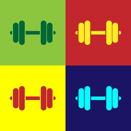 Color Dumbbell icon isolated on color backgrounds. Muscle lifting icon, fitness barbell, gym icon, sports equipment symbol, exercise bumbbell. Flat design. Vector Illustration Imagens - 124860754