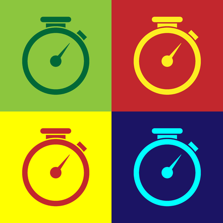 Color Stopwatch icon isolated on color backgrounds. Time timer sign. Flat design. Vector Illustration