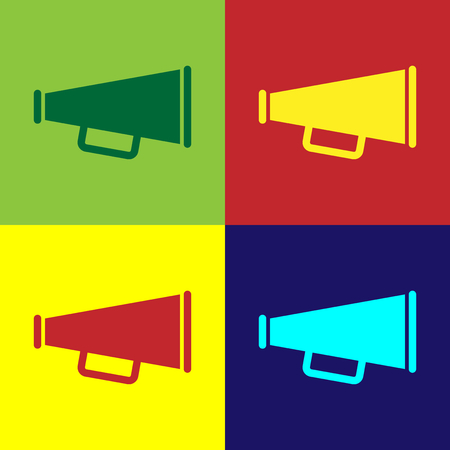 Color Megaphone icon isolated on color backgrounds. Flat design. Vector Illustration