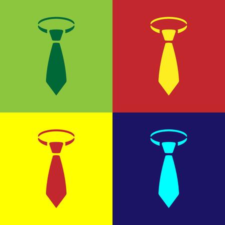Color Tie icon isolated on color backgrounds. Necktie and neckcloth symbol. Flat design. Vector Illustration Foto de archivo - 124860768