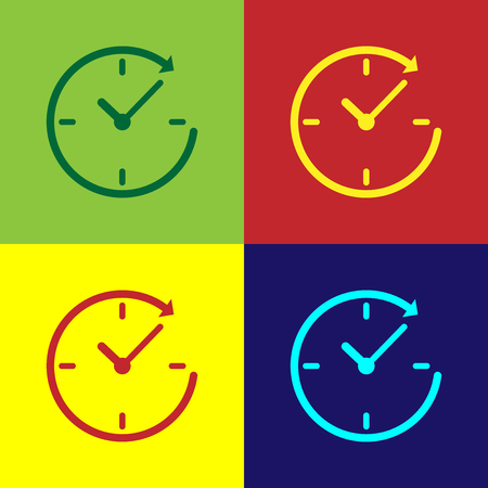 Color Clock with arrow icon isolated on color backgrounds. Time symbol. Clockwise rotation icon arrow and time. Flat design. Vector Illustration