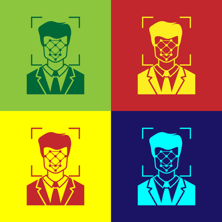Color Face recognition icon isolated on color backgrounds. Face identification scanner icon. Facial id. Cyber security concept. Flat design. Vector Illustration