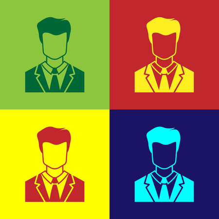 Color User of man in business suit icon isolated on color backgrounds. Business avatar symbol - user profile icon. Male user sign. Flat design. Vector Illustration Çizim