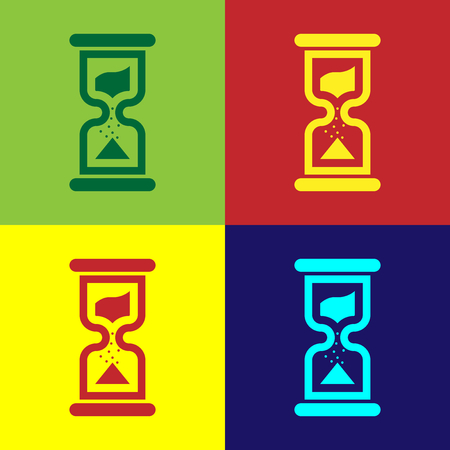 Color Old hourglass with flowing sand icon isolated on color backgrounds. Sand clock sign. Business and time management concept. Flat design. Vector Illustration