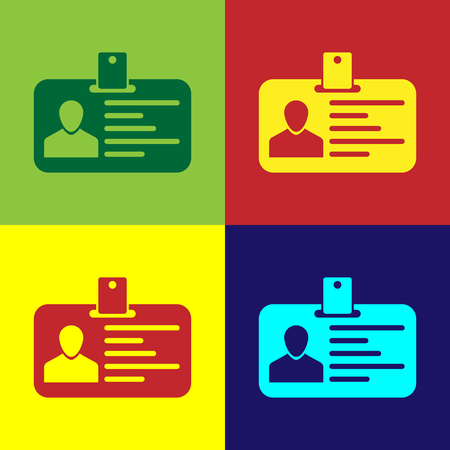 Color Identification badge icon isolated on color backgrounds. Identification card. It can be used for presentation, identity of the company, advertising and etc. Flat design. Vector Illustration