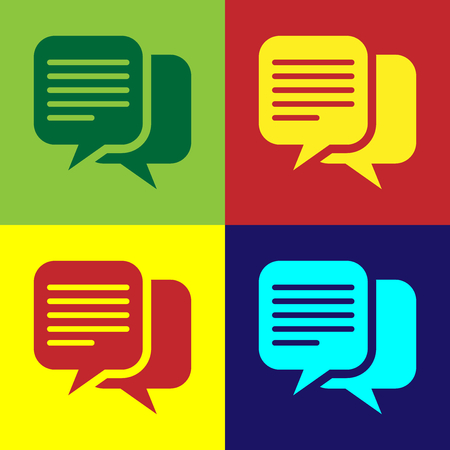 Color Chat icon isolated on color backgrounds. Speech bubbles symbol. Flat design. Vector Illustration Illustration