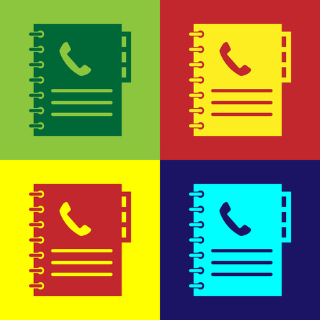 Color Phone book icon isolated on color backgrounds. Address book. Telephone directory. Flat design. Vector Illustration Illustration