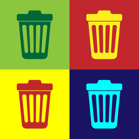 Color Trash can icon isolated on color backgrounds. Garbage bin sign. Flat design. Vector Illustration