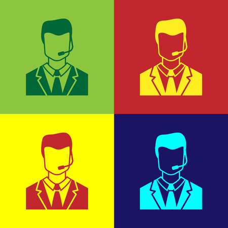 Color Man with a headset icon isolated on color backgrounds. Support operator in touch. Concept for call center, client support service. Flat design. Vector Illustration Çizim