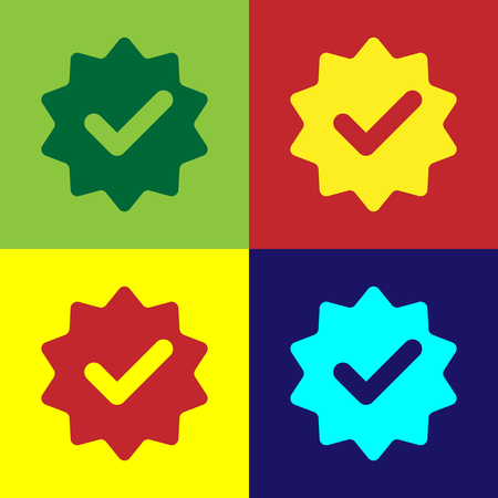 Color Approved or certified medal with ribbons and check mark icon isolated on color backgrounds. Flat design. Vector Illustration