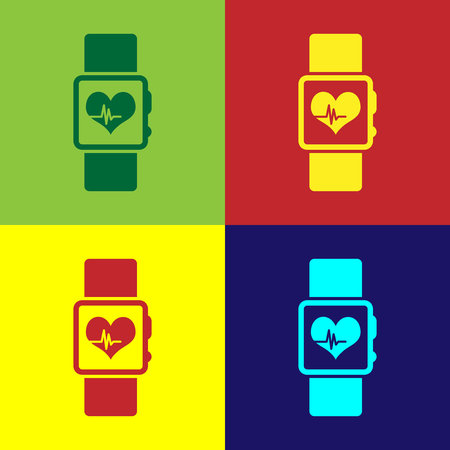 Color Smart watch showing heart beat rate icon isolated on color backgrounds. Fitness App concept. Flat design. Vector Illustration