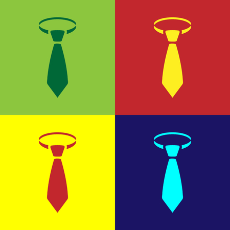 Color Tie icon isolated on color backgrounds. Necktie and neckcloth symbol. Flat design. Vector Illustration Foto de archivo - 124833444