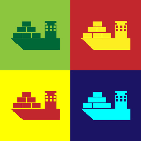 Color Cargo ship icon isolated on color backgrounds. Flat design. Vector Illustration Illustration