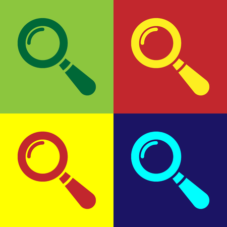 Color Magnifying glass icon isolated on color backgrounds. Search, focus, zoom, business symbol. Flat design. Vector Illustration