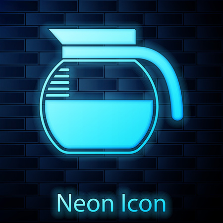 Glowing neon Coffee pot icon isolated on brick wall background. Vector Illustration