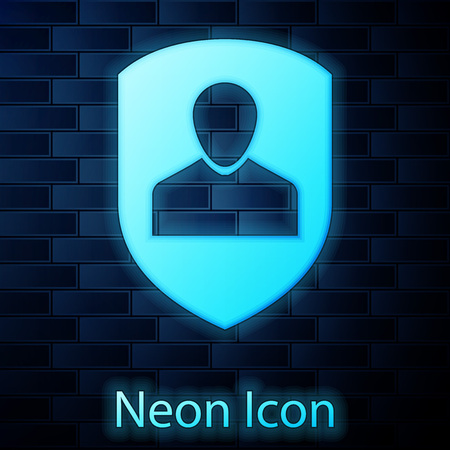 Glowing neon User protection icon isolated on brick wall background. Secure user login, password protected, personal data protection, authentication icon. Vector Illustration