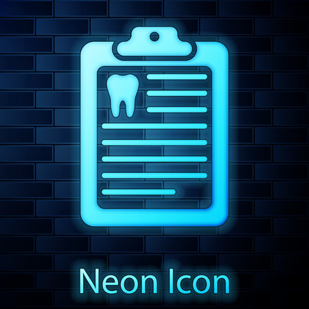 Glowing neon Clipboard with dental card or patient medical records icon isolated on brick wall background. Dental insurance. Dental clinic report. Vector Illustration