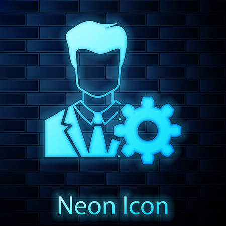 Glowing neon Profile settings icon on brick wall background. User setting icon. Profile Avatar with cogwheel sign. Account icon. Male person silhouette. Vector Illustration