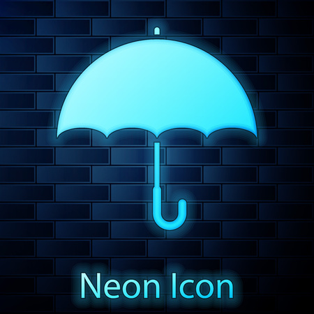 Glowing neon Umbrella icon isolated on brick wall background. Vector Illustration