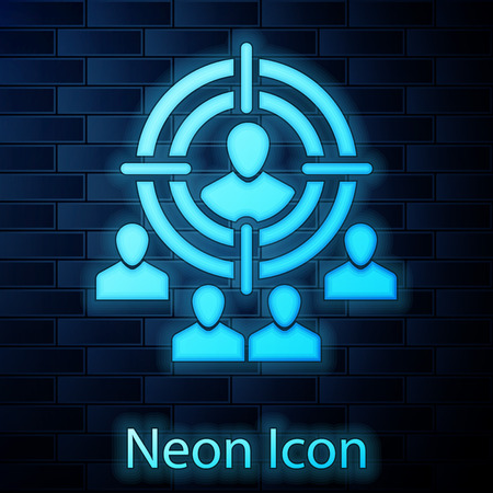 Glowing neon Marketing target strategy concept icon isolated on brick wall background. Aim with people sign. Vector Illustration