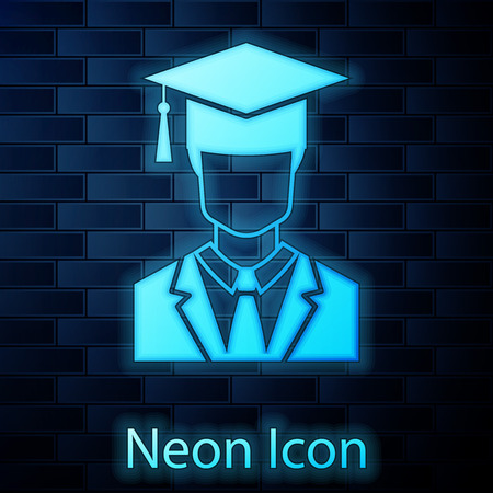 Glowing neon Male graduate student profile with gown and graduation cap icon isolated on brick wall background. Vector Illustration