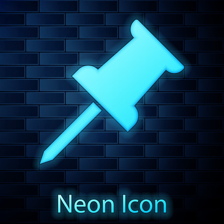 Glowing neon Push pin icon isolated on brick wall background. Thumbtacks sign. Vector Illustration Ilustrace