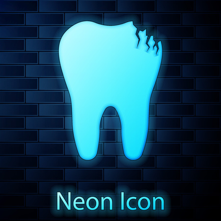 Glowing neon Broken tooth icon isolated on brick wall background. Dental problem icon. Dental care symbol. Vector Illustration