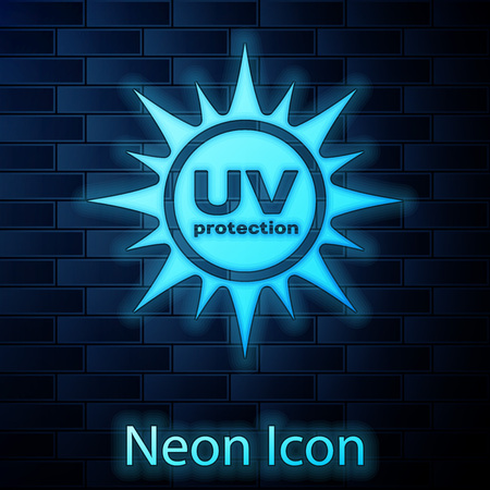 Glowing neon UV protection icon isolated on brick wall background. Ultra violet rays radiation. SPF sun sign. Vector Illustration