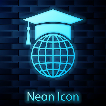 Glowing neon Graduation cap on globe icon isolated on brick wall background. World education symbol. Online learning or e-learning concept. Vector Illustration