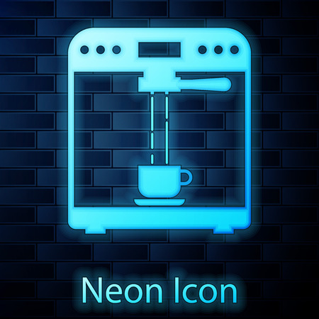 Glowing neon Coffee machine and coffee cup icon isolated on brick wall background. Vector Illustration Stock Vector - 124801969