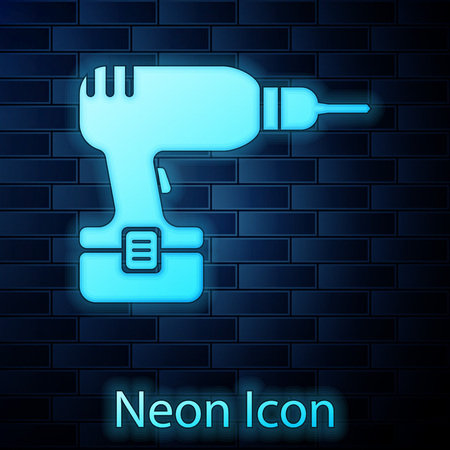 Glowing neon Drill machine icon isolated on brick wall background. Vector Illustration Illustration