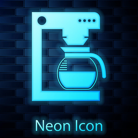 Glowing neon Coffee machine with glass pot icon isolated on brick wall background. Vector Illustration Illustration
