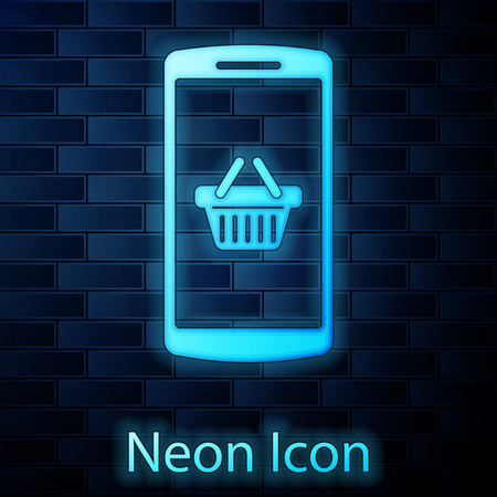 Glowing neon Shopping basket on screen smartphone icon isolated on brick wall background. Concept e-commerce, e-business, online business marketing. Vector Illustration Illustration