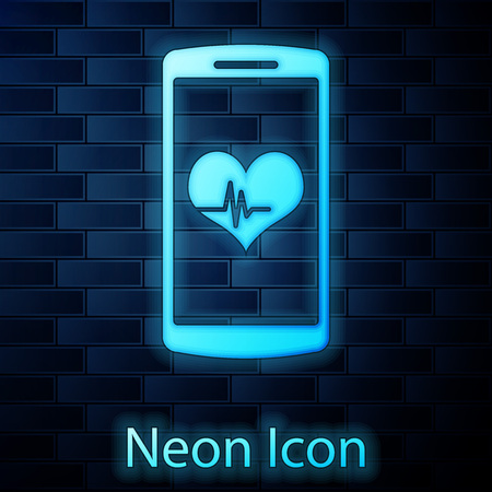 Glowing neon Smartphone with heart rate monitor function icon isolated on brick wall background. Vector Illustration Ilustração