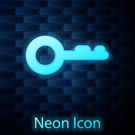 Glowing neon Key icon isolated on brick wall background. Vector Illustration