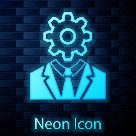 Glowing neon Human head with gear inside icon isolated on brick wall background. Artificial intelligence. Thinking brain sign. Symbol work of brain. Vector Illustration