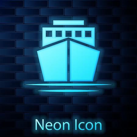 Glowing neon Ship icon isolated on brick wall background. Vector Illustration